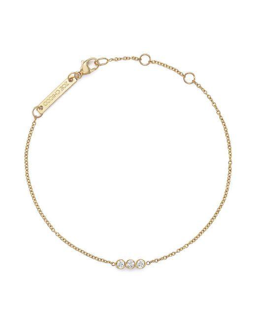 Zoe Chicco - White 14k Yellow Gold Bracelet With Bezel-set Diamonds - Lyst