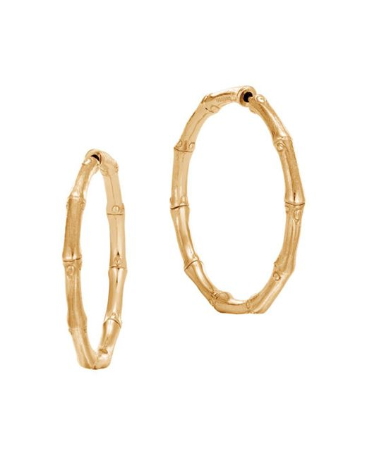 John Hardy - Metallic 18k Yellow Gold Bamboo Medium Hoop Earrings - Lyst
