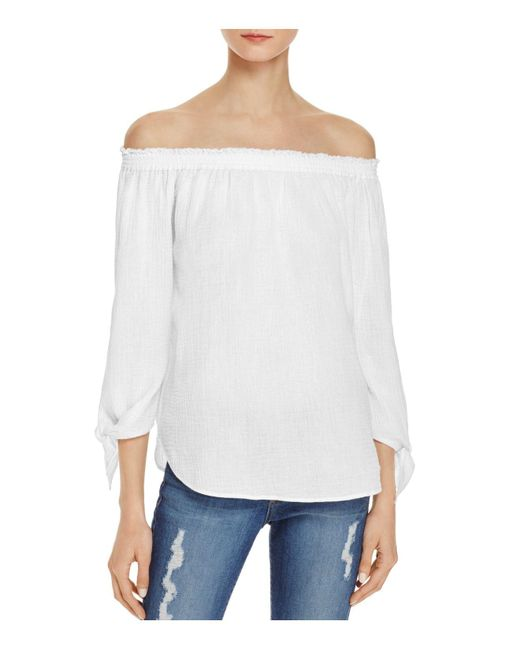 Generation Love | White Off-the-shoulder Tie Sleeve Top | Lyst