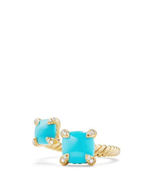 David Yurman - Blue Châtelaine Bypass Ring With Turquoise & Diamonds In 18k Gold - Lyst