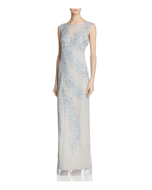 Adrianna Papell | Blue Sleeveless Beaded Gown | Lyst