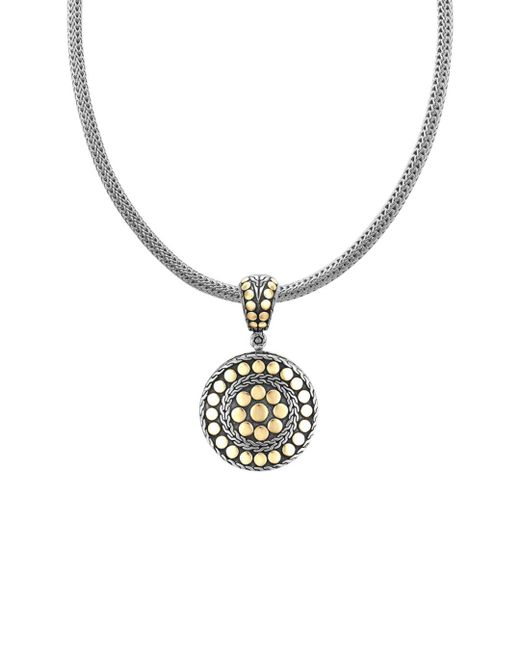 "John Hardy - Metallic ""dot Deco"" Gold And Silver Round Enhancer - Lyst"
