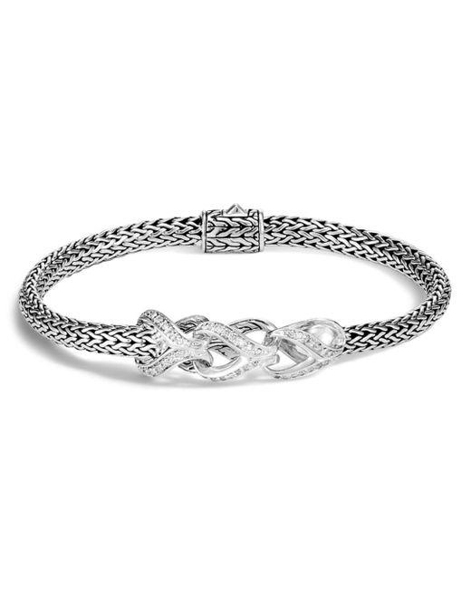 John Hardy - Metallic Sterling Silver Classic Chain Pavé Diamond Slim Bracelet - Lyst