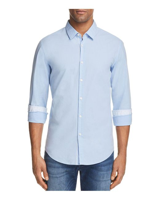 BOSS Green | Blue C Bence Micro-check Slim Fit Button-down Shirt for Men | Lyst