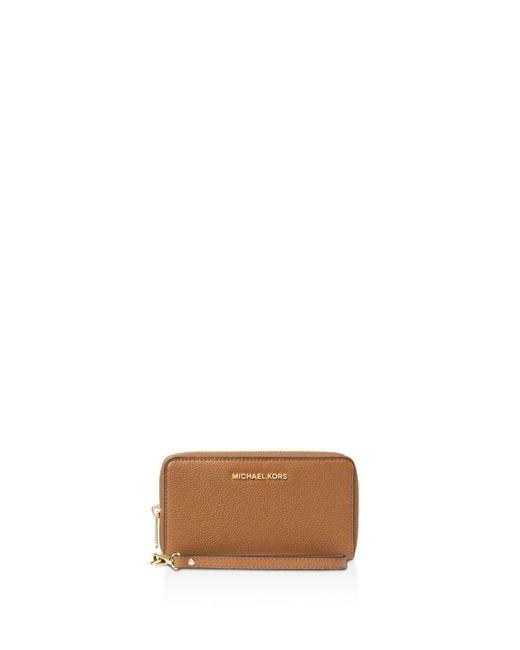 MICHAEL Michael Kors - Brown Flat Multi-function Large Leather Smartphone Wristlet - Lyst