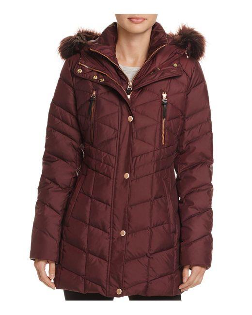 Marc New York | Red Marley Faux Fur Trim Puffer Coat | Lyst