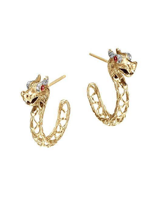 John Hardy | Metallic 18k Gold Naga Diamond Pavé Medium Dragon Hoop Earrings With African Ruby Eyes | Lyst
