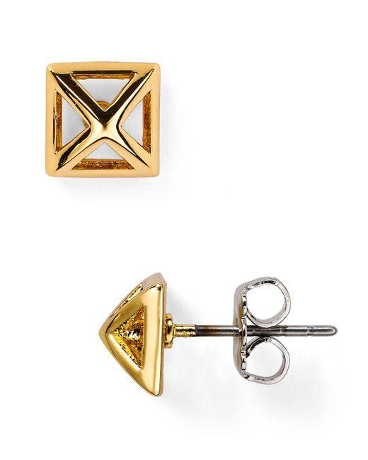 Rebecca Minkoff - Metallic Pyramid Cut-out Stud Earrings - Lyst