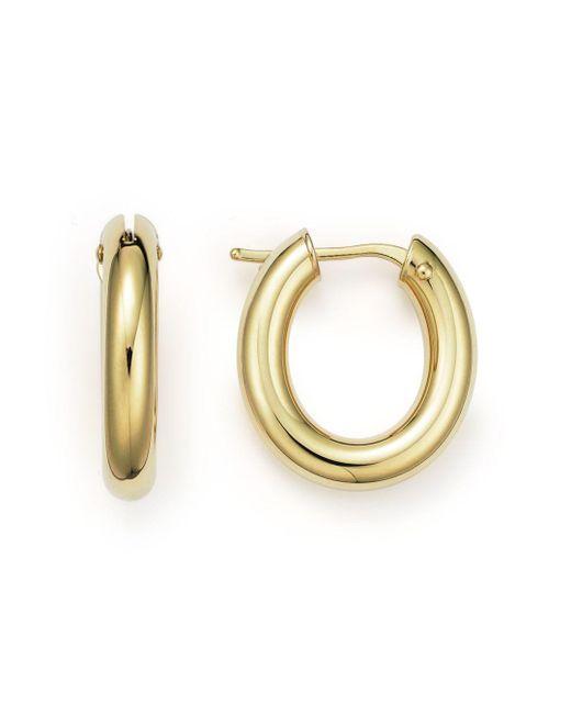 Roberto Coin - Metallic 18k Yellow Gold Oval Hoop Earrings - Lyst