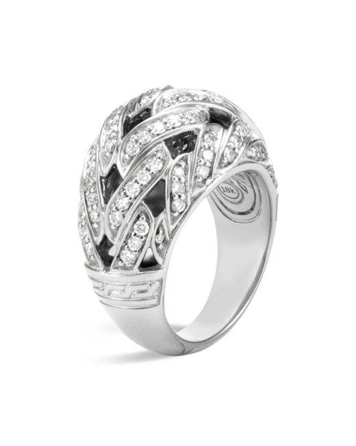 John Hardy - Metallic Classic Chain Sterling Silver Diamond Pavé Dome Ring - Lyst