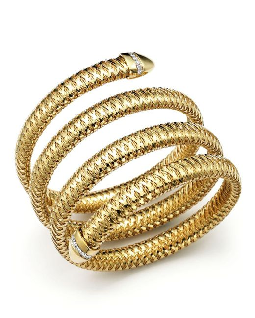 Roberto Coin - Metallic Primavera 18k Yellow And White Gold Flex Diamond Bracelet - Lyst