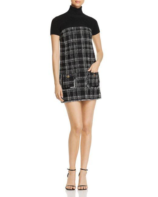 Elisabetta Franchi - Black Tweed Combo Mini Dress - Lyst