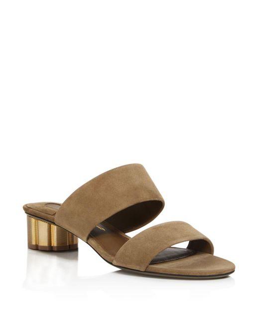 Ferragamo | Red Belluno Slide Sandals | Lyst