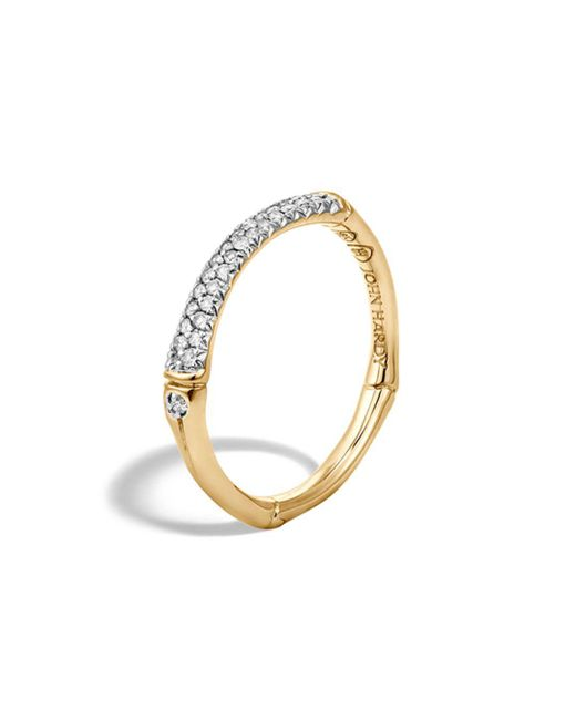 John Hardy - White Bamboo 18k Yellow Gold Diamond Pavé Slim Band Ring - Lyst