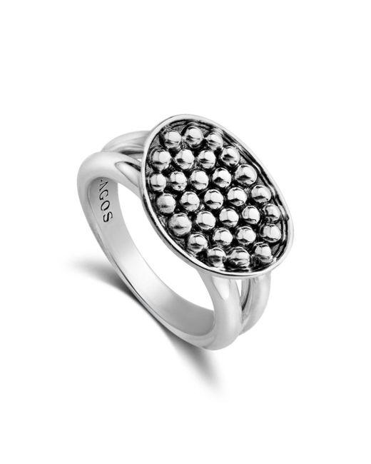 Lagos - Metallic Sterling Silver Bold Caviar Horizontal Ellipse Ring - Lyst