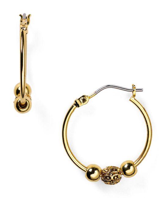 Ralph Lauren - Metallic Lauren Beaded Delight Small Hoop Earrings - Lyst