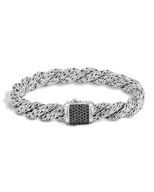 John Hardy - Metallic Classic Chain Sterling Silver Lava Medium Flat Twisted Chain Bracelet With Black Sapphire - Lyst