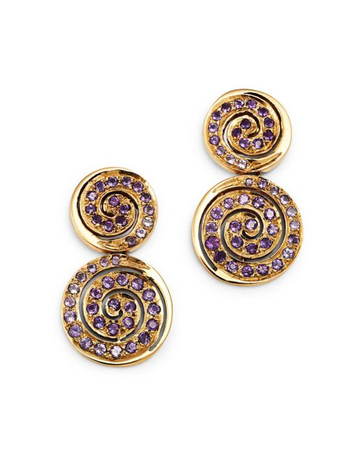 Shebee - Metallic 14k Yellow Gold Amethyst Spiral Drop Earrings - Lyst