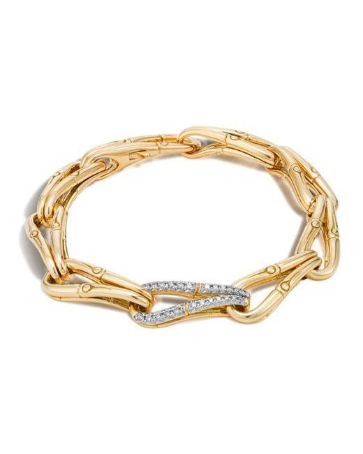 John Hardy - Gray Bamboo 18k Gold And Diamond Link Bracelet - Lyst