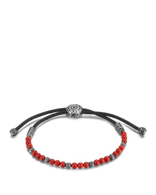John Hardy | Red Men's Sterling Silver Classic Chain Beaded Bracelet With Reconstructed Coral for Men | Lyst