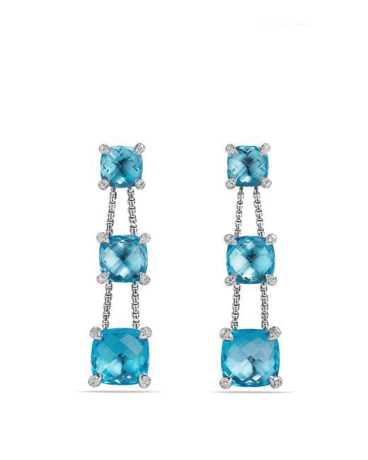 David Yurman | Châtelaine Linear Chain Earrings With Blue Topaz And Diamonds | Lyst