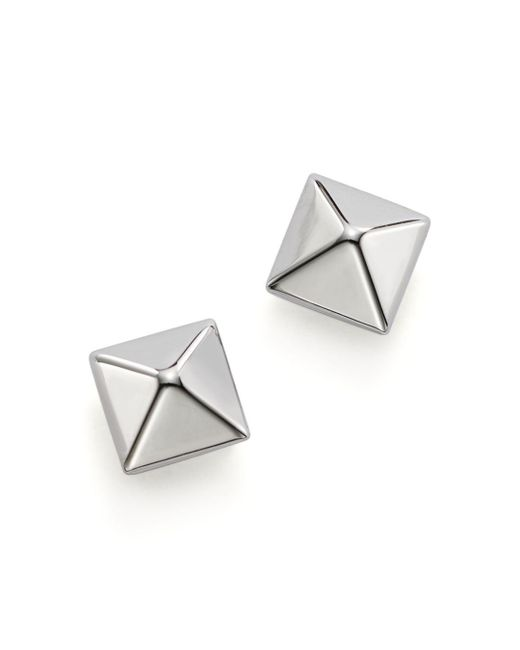 Bloomingdale's - 14k White Gold Small Pyramid Earrings - Lyst