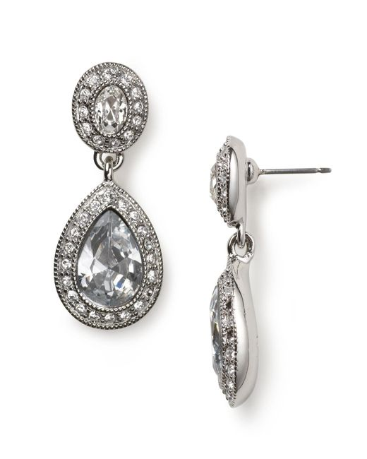 Carolee | Blue Pave Stone Double Drop Earrings | Lyst