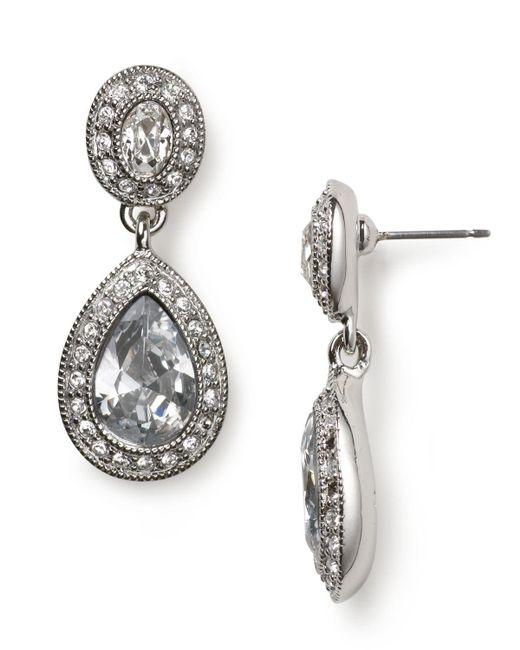 Carolee | Blue Pave Stone Double Drop Earrings | Lyst