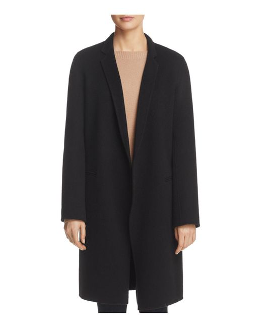 Theory   Black Double-face Wool And Cashmere Reefer Coat   Lyst