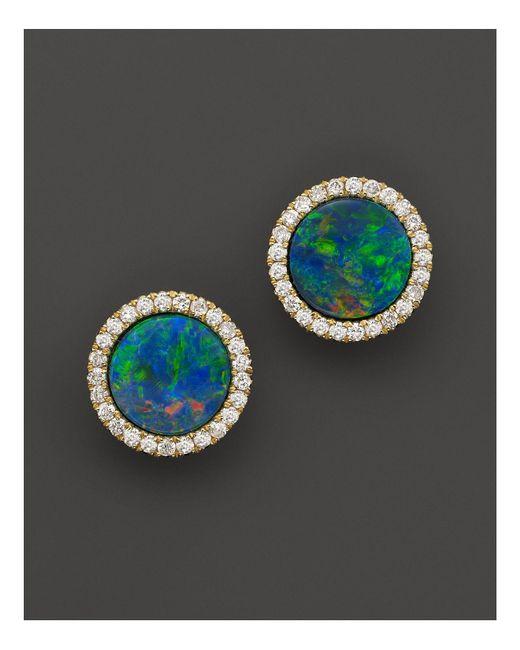Meira T | 14k Yellow Gold Blue Opal And Diamond Stud Earrings | Lyst