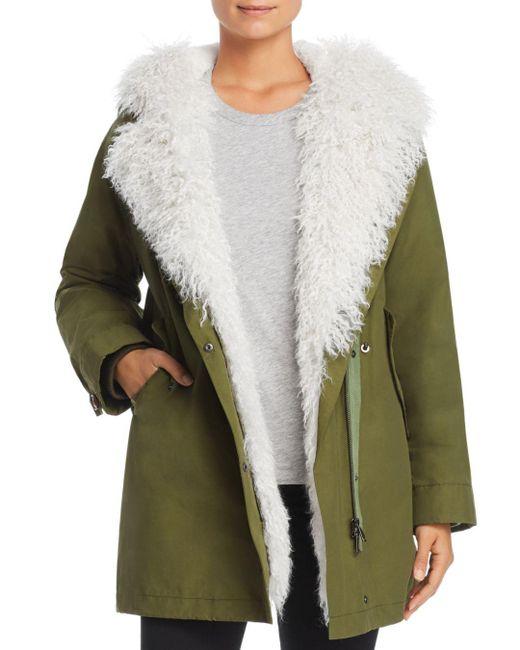 Maximilian - Green Rabbit Fur-lined Parka With Lamb Shearling Trim - Lyst