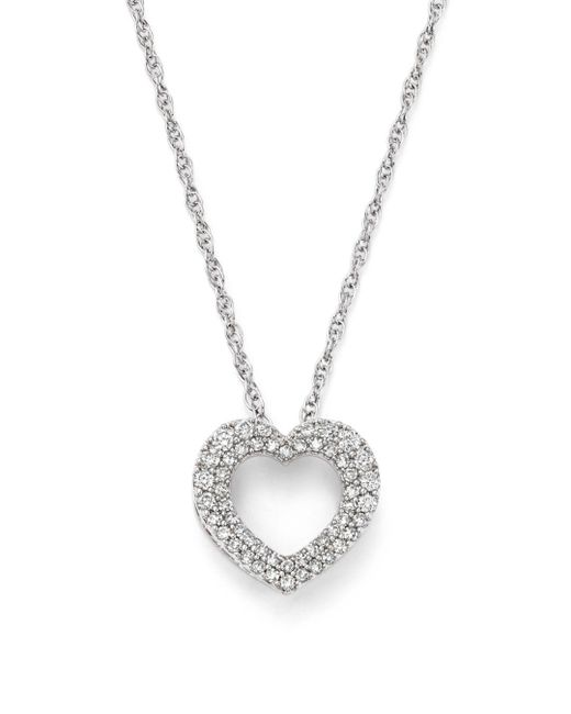 Bloomingdale's - Diamond Heart Pendant Necklace In 14k White Gold, .25 Ct.t.w. - Lyst