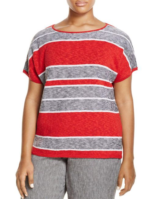 Marina Rinaldi - Red Adesso Short Sleeve Striped Sweater - Lyst