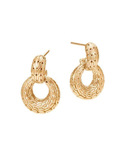 John Hardy - Metallic 18k Yellow Gold Classic Chain Drop Earrings - Lyst