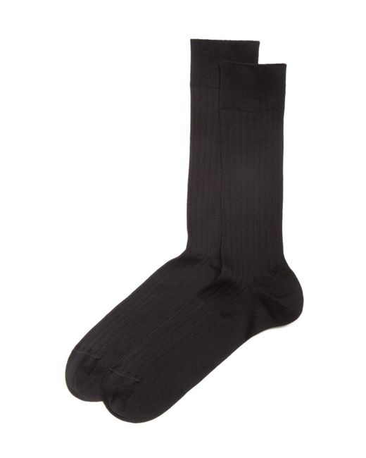 Bloomingdale's - Black Ribbed Cotton Blend Socks for Men - Lyst