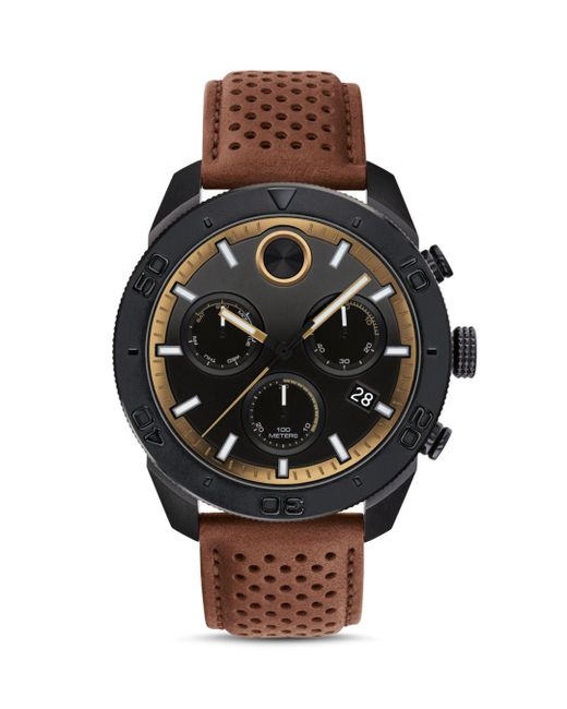 Movado - Black Bold Sport Chronograph Leather Strap Watch for Men - Lyst