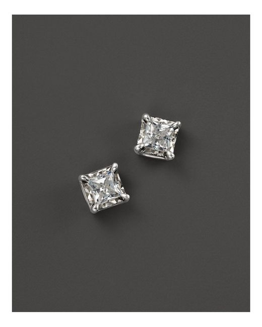 Bloomingdale's - White Diamond Princess Cut Stud Earrings, .50 Ct. T.w. - Lyst