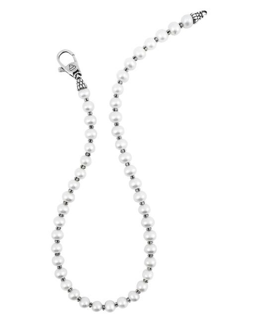 Lagos | Metallic Sterling Silver Luna Pearl Necklace, 20"