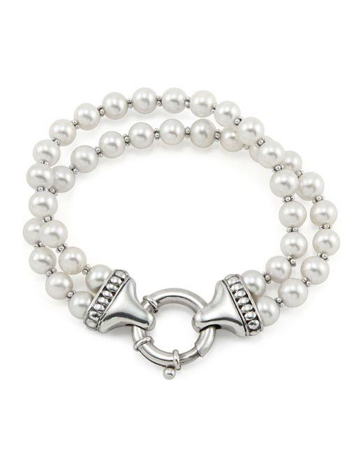 Lagos   Metallic Sterling Silver Luna 2 Strand Pearl Bracelet   Lyst