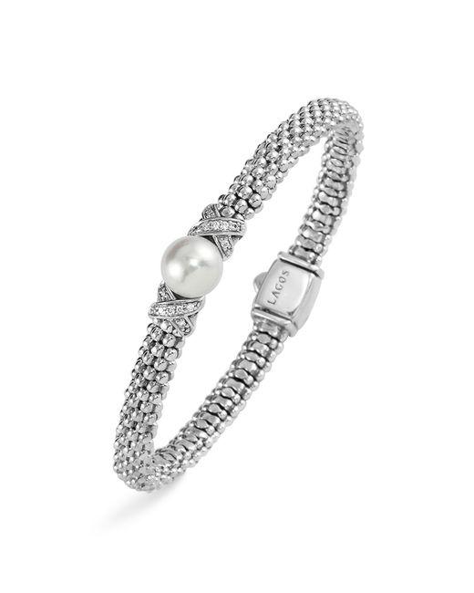 Lagos | White Sterling Silver Luna Button Pearl Diamond X Rope Bracelet | Lyst