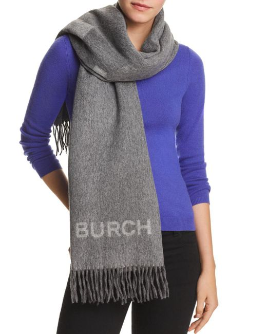 Tory Burch - Gray Wool Logo Scarf - Lyst