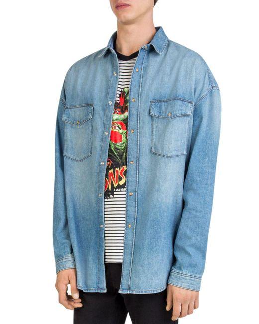 The Kooples - Blue Oversized Faded Denim Shirt for Men - Lyst