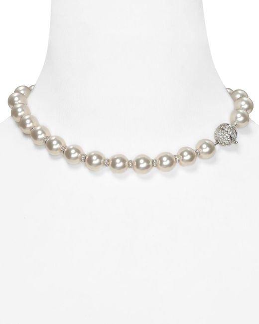 """Nadri   White Simulated Pearl And Crystal Rondelles Necklace, 16""""   Lyst"""