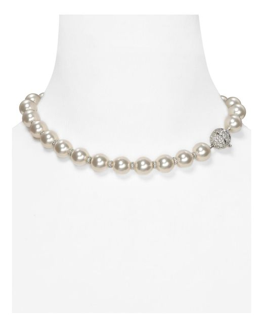 Nadri | White Simulated Pearl And Crystal Rondelles Necklace, 16"