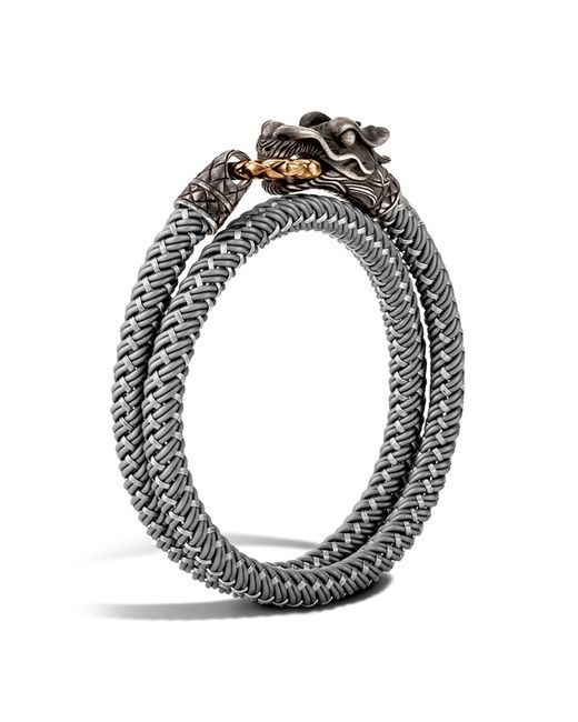 John Hardy | Metallic Men's Naga Double Wrap Dragon Cord Bracelet for Men | Lyst