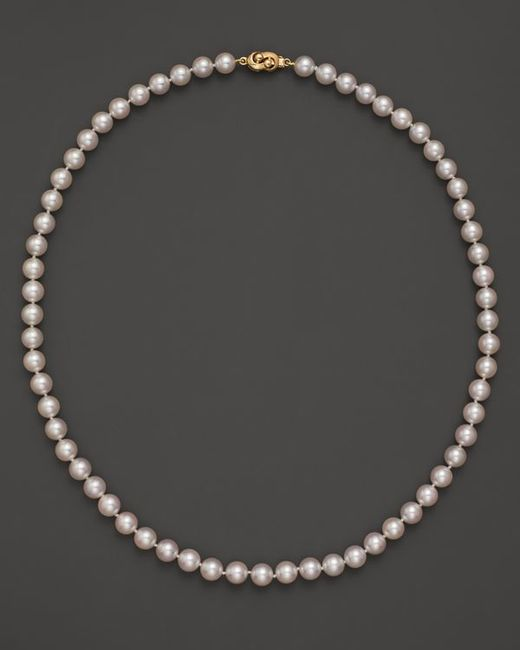 Tara Pearls | Metallic Akoya Cultured Pearl Necklace With 18k Yellow Gold Clasp, 16'' | Lyst