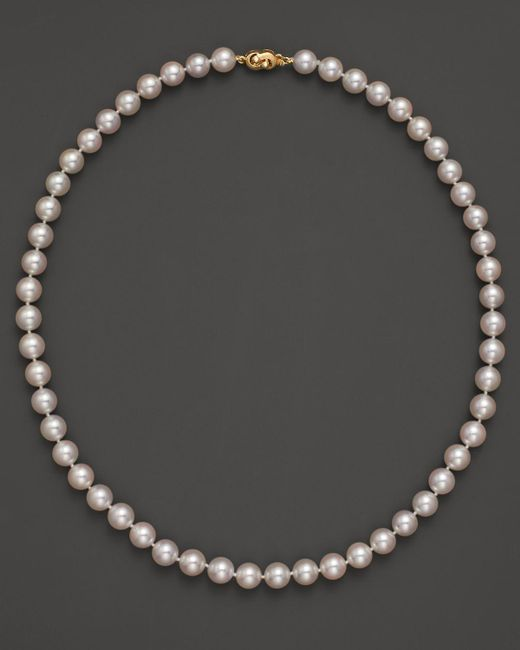 Tara Pearls | Metallic Akoya 7.5mm Cultured Pearl Strand Necklace, 18"