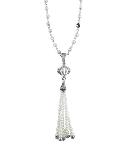 Lagos | Metallic Sterling Silver Luna Pearl Tassel Pendant Necklace, 36"