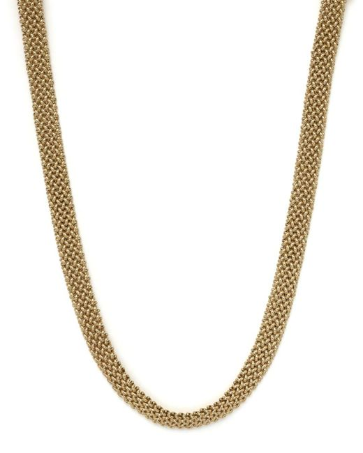 """Bloomingdale's - Metallic Woven Necklace In 14k Yellow Gold, 18"""" - Lyst"""