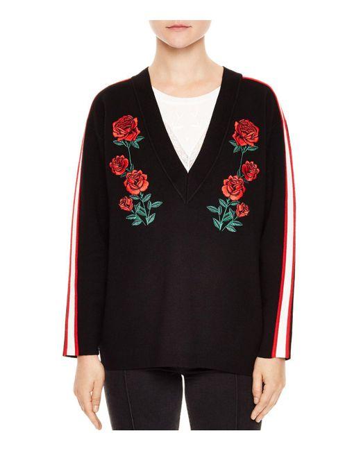 Sandro | Black Indira Rose-embroidered Sweater | Lyst